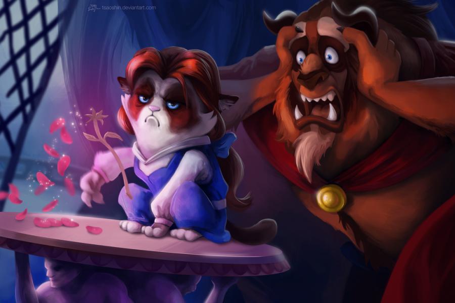 tsaoshin ilustraciones grumpy cat bella y la bestia
