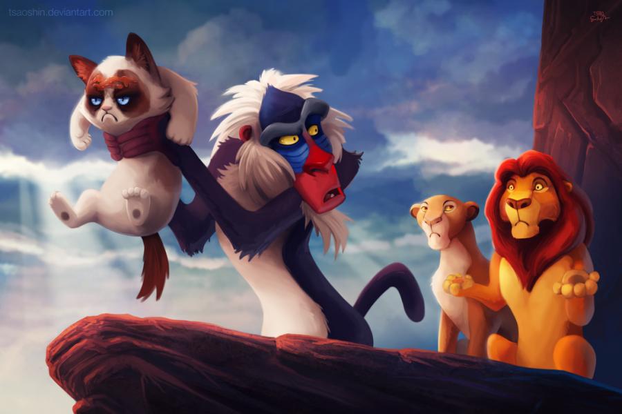 tsaoshin ilustraciones grumpy cat el rey y el leon