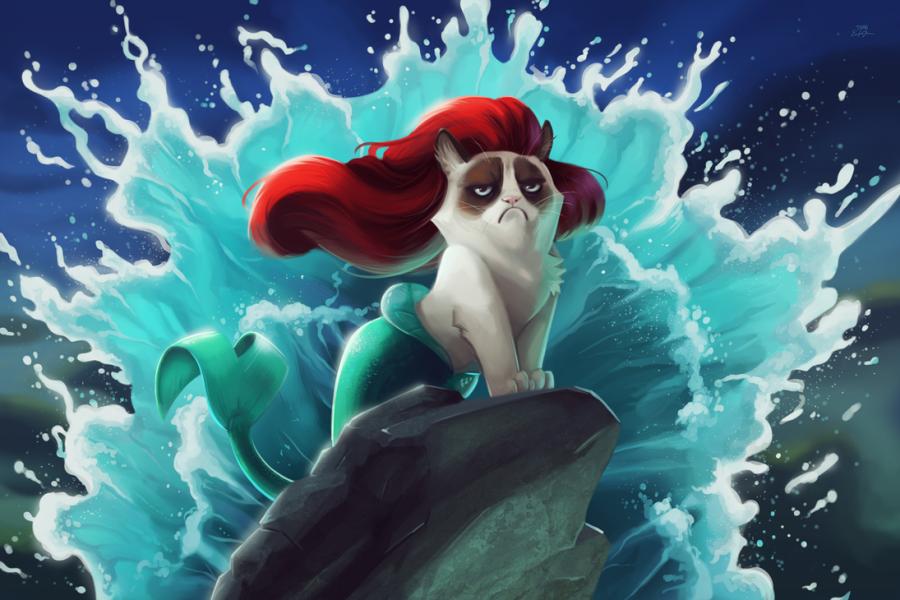 tsaoshin ilustraciones grumpy cat la sirenita