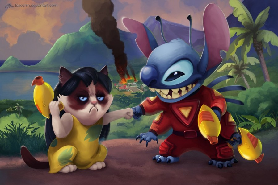 tsaoshin ilustraciones grumpy cat lilo and stich