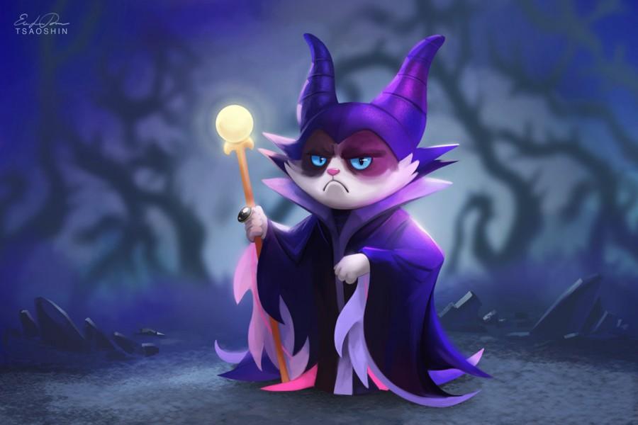 tsaoshin ilustraciones grumpy cat malefica