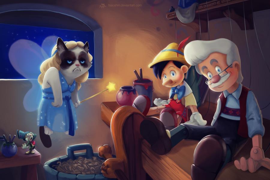 tsaoshin ilustraciones grumpy cat pinocho