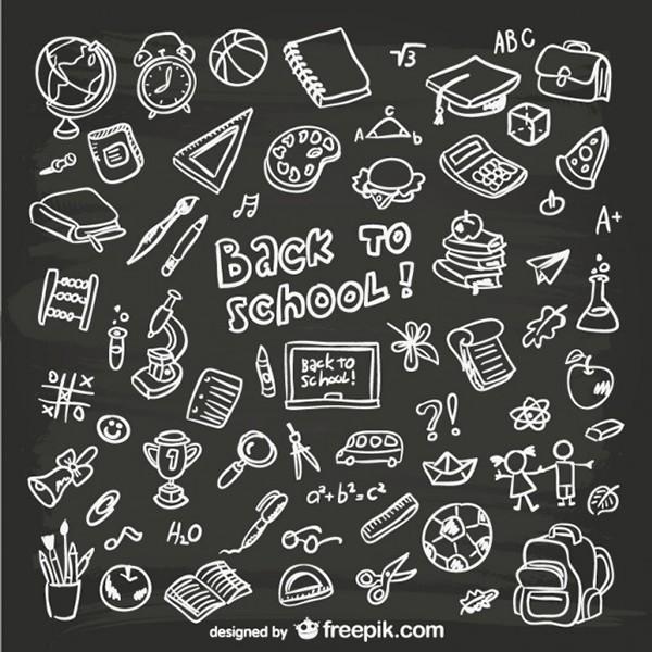 Iconos de escuela diseñados a mano