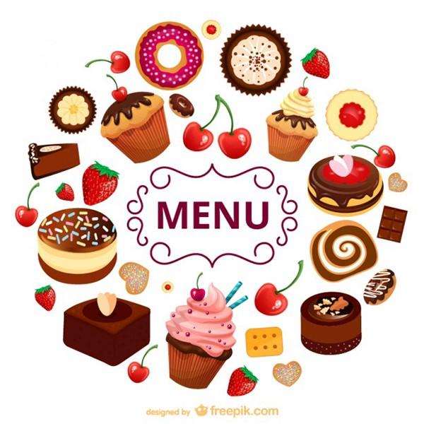 Iconos vectoriales de postres para menu de comida