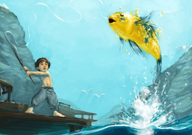 Ilustraciones digitale Brakken pescador