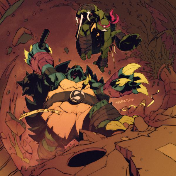 ilustraciones Michael Anderson rafael vs slash tortugas ninja