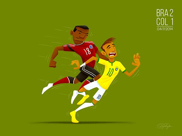 Lesión de Neymar, Colombia vs Brasil