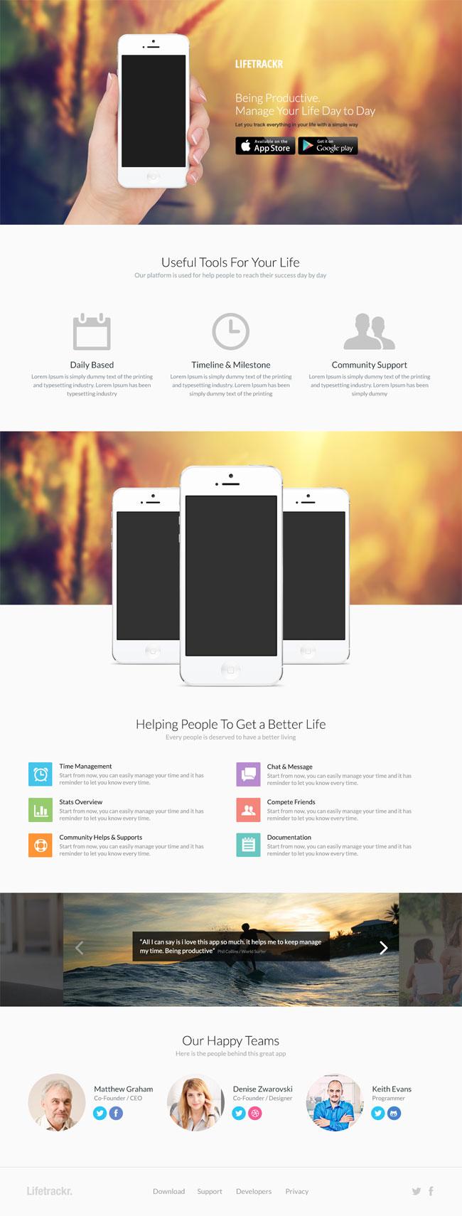 Plantilla para landing page de aplicaciones móviles