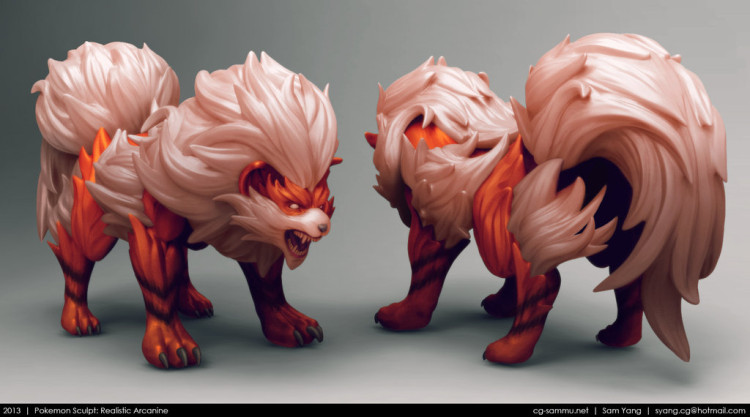 sam yang renders 3D pokemon arcaine