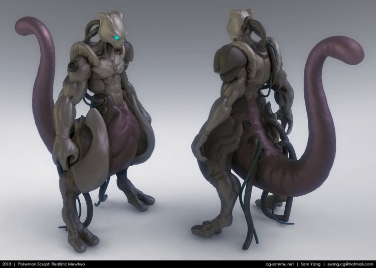 sam yang renders 3D pokemons mewtwo