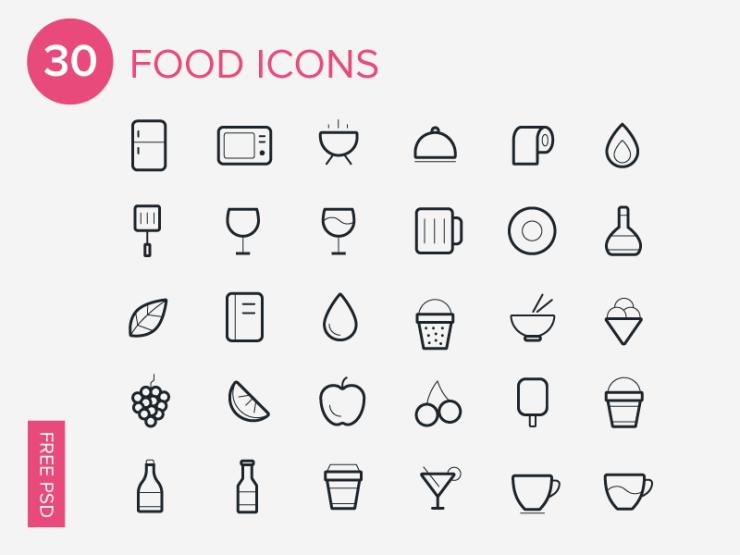 30 iconos de comida gratis para photoshop