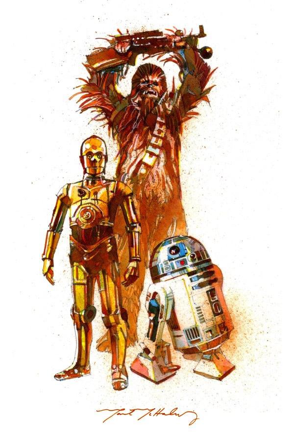ilustraciones pop chewbacca r2d2 c3po