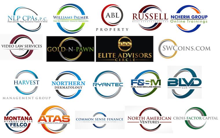 Logos que encierran el nombre de la marca en un circulo