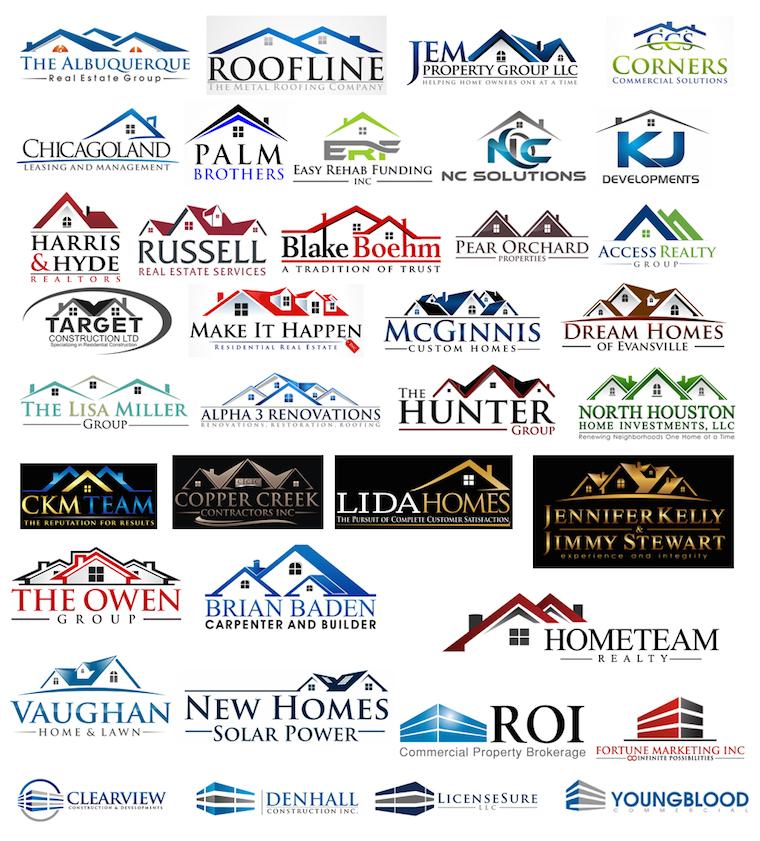 Diseños de logos que incluyen la silueta de casas o montañas
