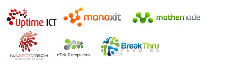 Logos con formas fusionadas de burbujas
