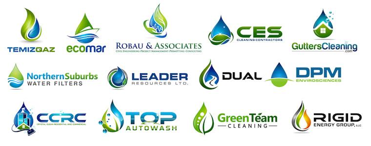 Logos que utilizan diferentes elementos para representar gotas de agua