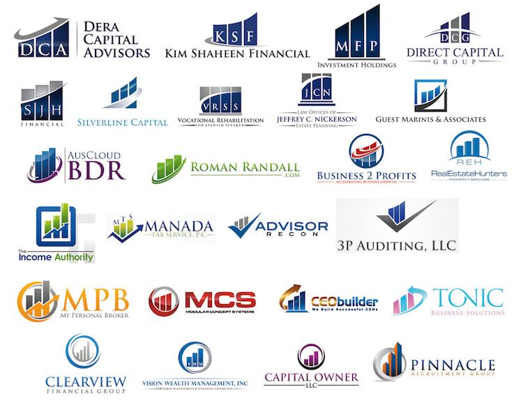 Diseños de logos que utilizan formas que representar barras de estadísticas con torres o edificios