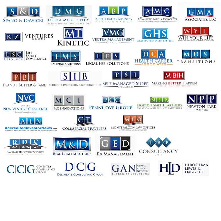 Diseños de logos que encierran el nombre de la marca en marcos cuadrados