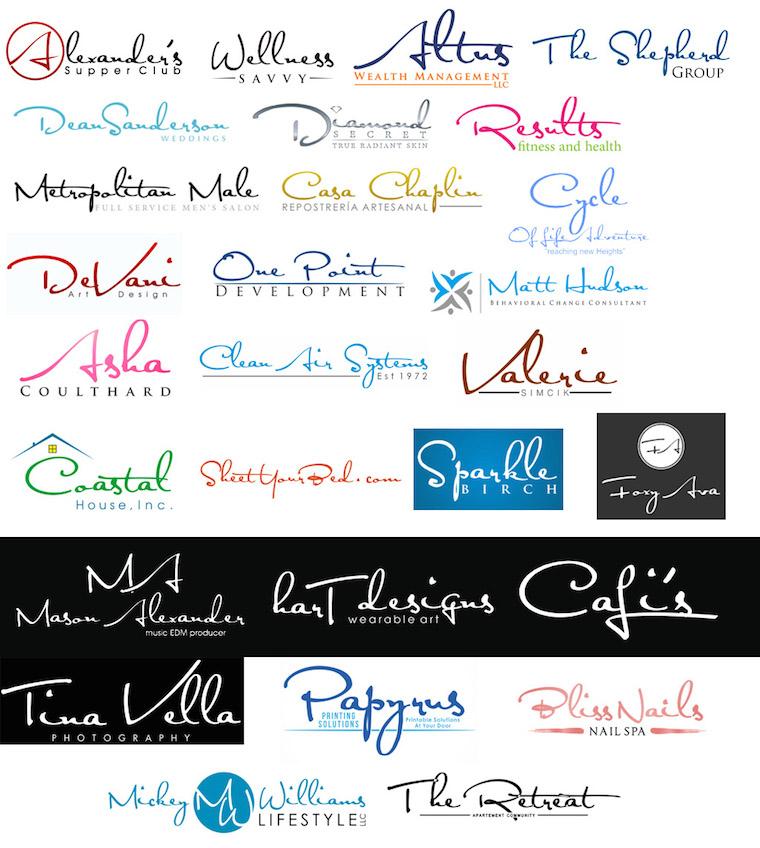 Logos con tipografías cursivas (Satisfaction)