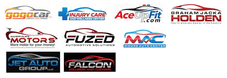 Diseños de logos con siluetas de autos