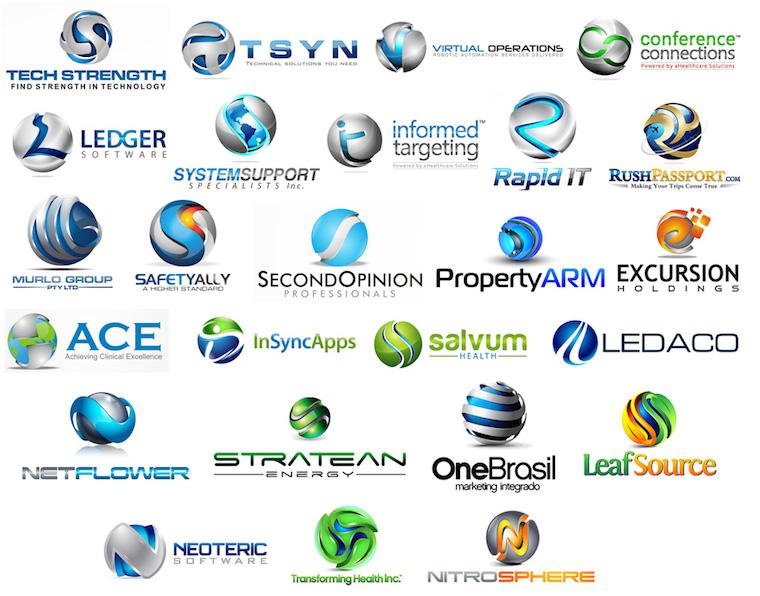 Diseños con esferas acompañando el nombre de la marca