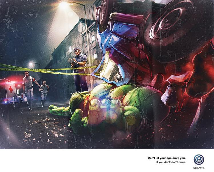 publicidad superheroes Volkswagen hulk