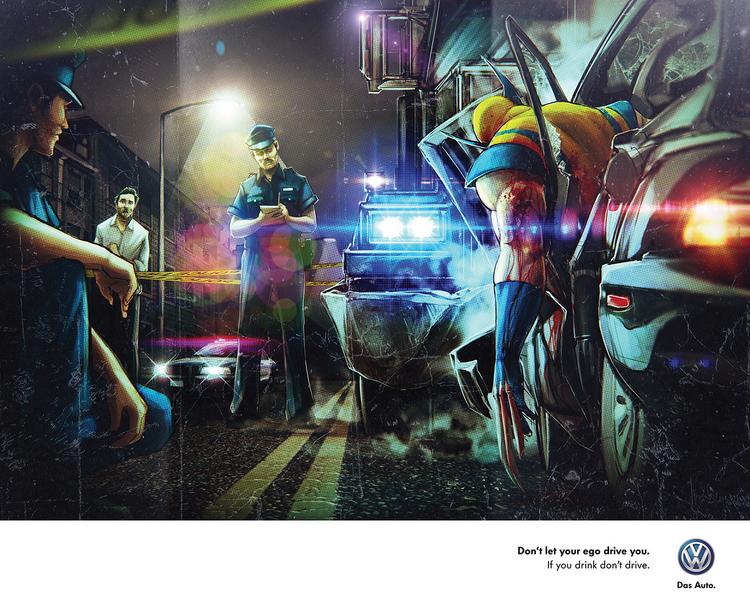 publicidad superheroes Volkswagen wolverine