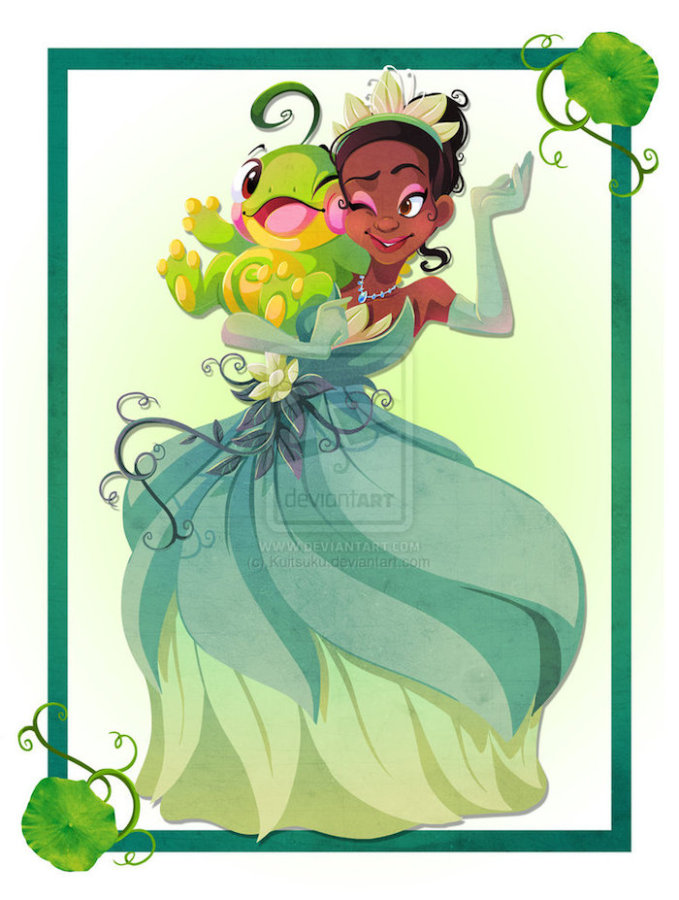 Kuitsuku ilustraciones la princesa y el sapo 679x900 Personajes de Disney entrenando Pokemons por Kuitsuku