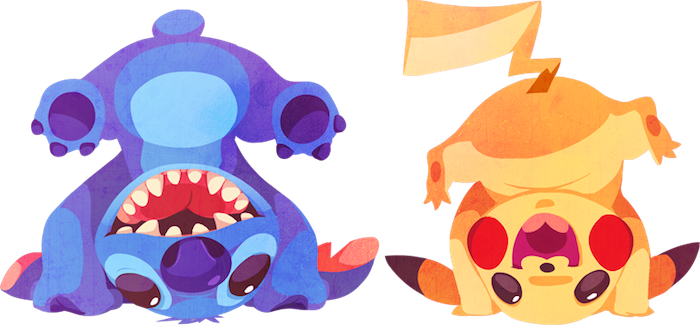 Kuitsuku ilustraciones stich pikachu Personajes de Disney entrenando Pokemons por Kuitsuku