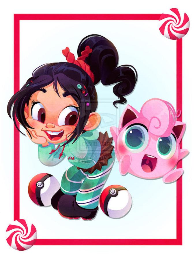 Kuitsuku ilustraciones vanelope 679x900 Personajes de Disney entrenando Pokemons por Kuitsuku