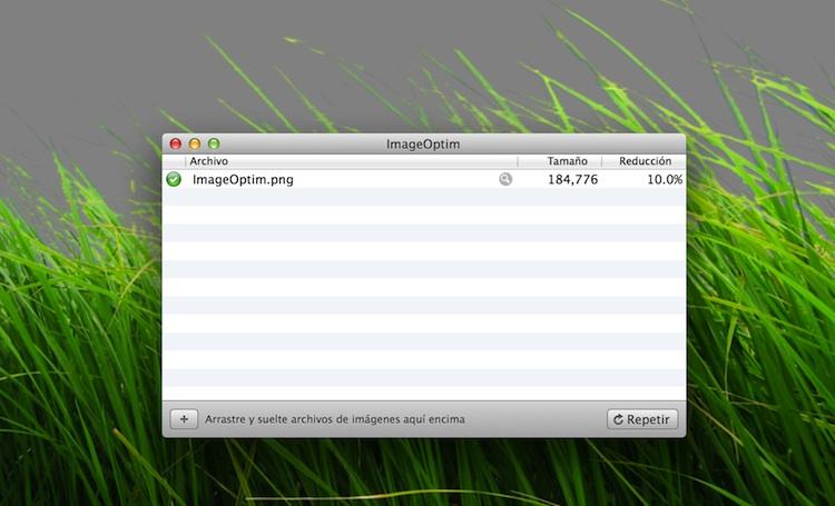 Aplicaciones para comprimir imágenes PNG, imageoptim