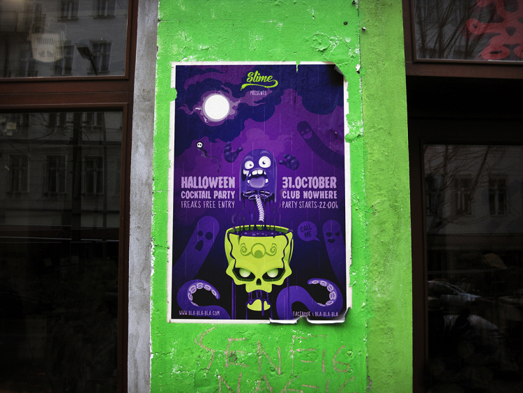 poster psd halloween cover
