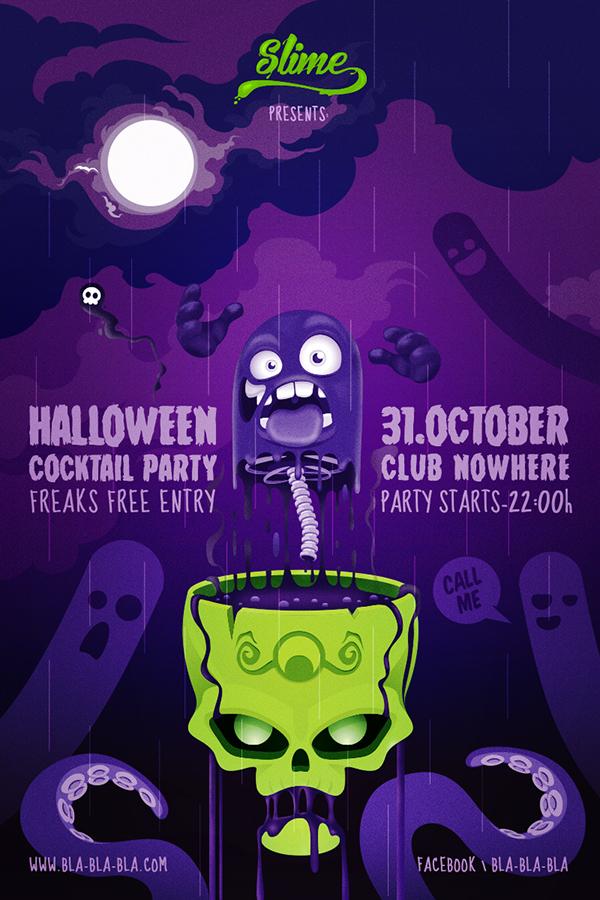 poster psd halloween