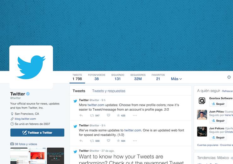 Cambios de diseño en Twitter boton