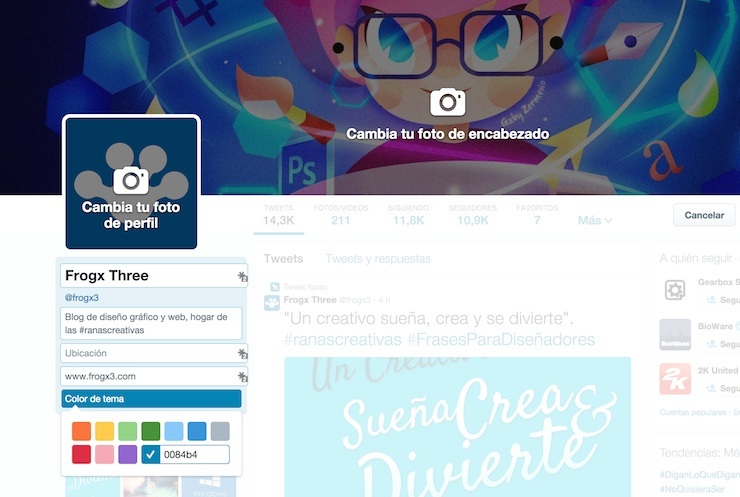 twitter cambio colores