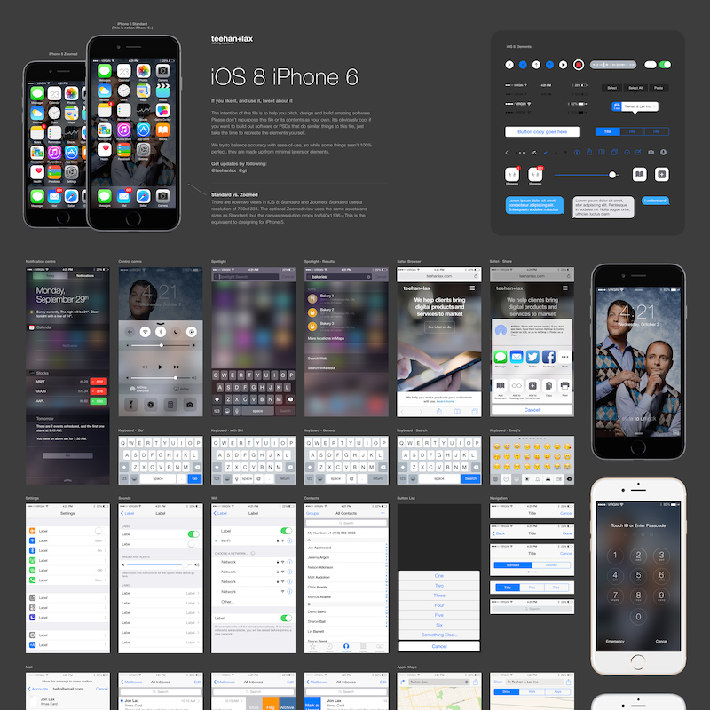 iOS 8 GUI Template