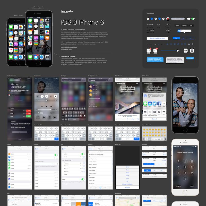 Plantilla de elementos GUI de iOS 8 para Photoshop - Frogx Three