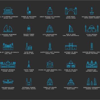 iconos monumentos historicos asia