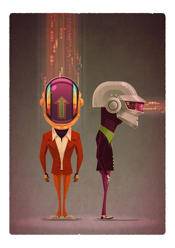 ilustraciones James Gilleard daft punk