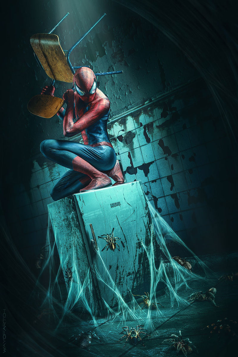 ilustraciones Jurek Gralak spiderman miedo