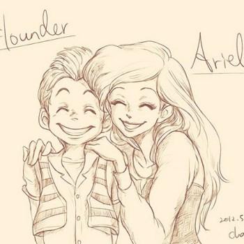 ilustraciones humanas flounder y ariel