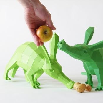 animales papel 3D oso hormiguero