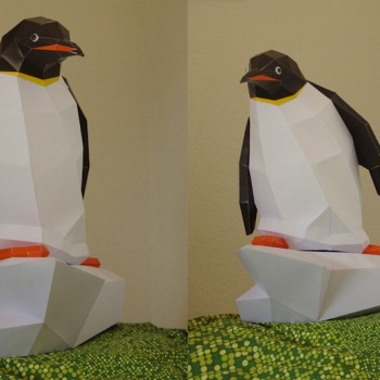 animales papel 3D pinguino
