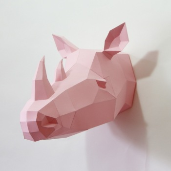 animales papel 3D rinoceronte