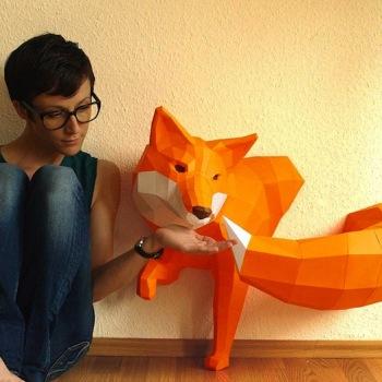 animales papel 3D zorro