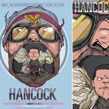 caricaturas superheroes hancock