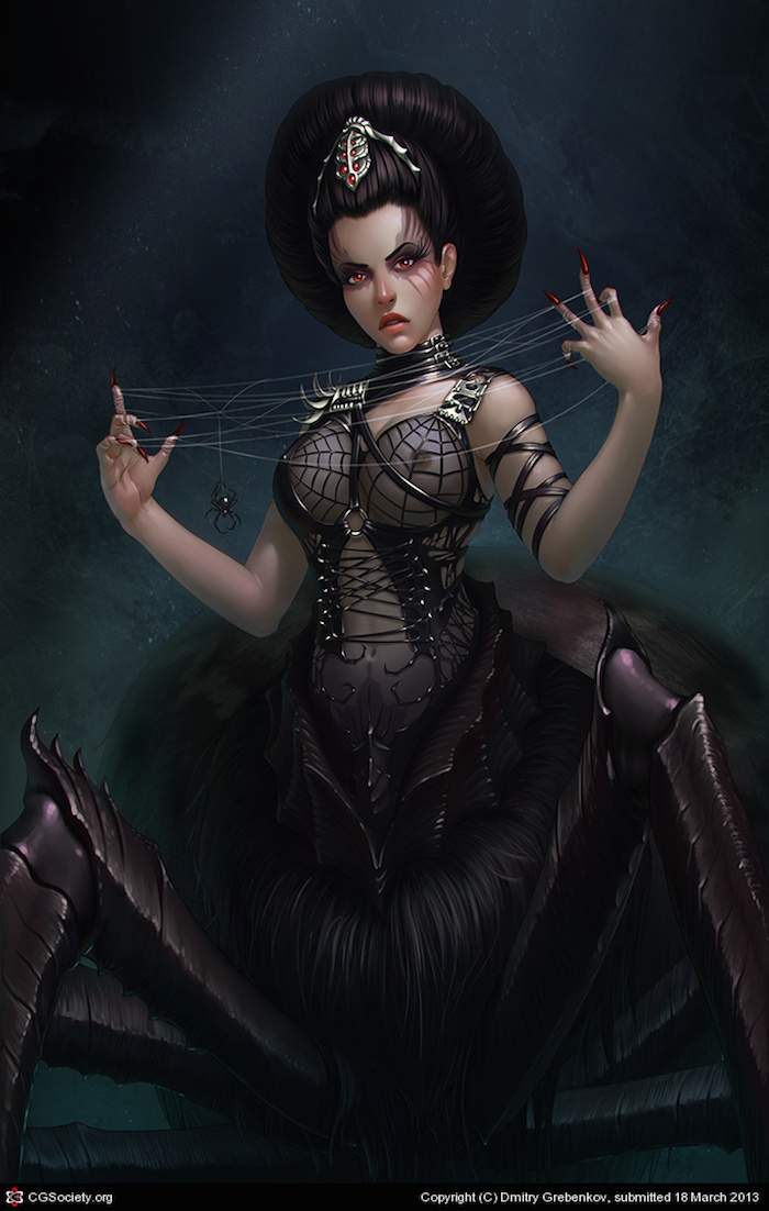ilustracion digital Dmitry Grebenkov black widow