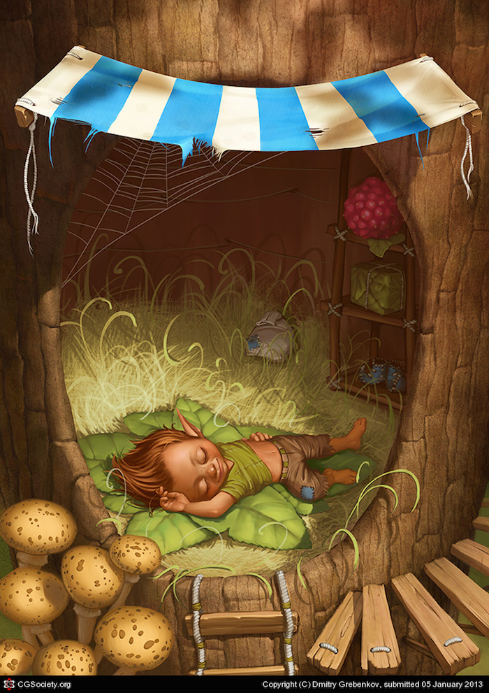 ilustracion digital Dmitry Grebenkov sleeping