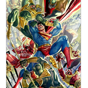 ilustraciones superheroes superman parademons