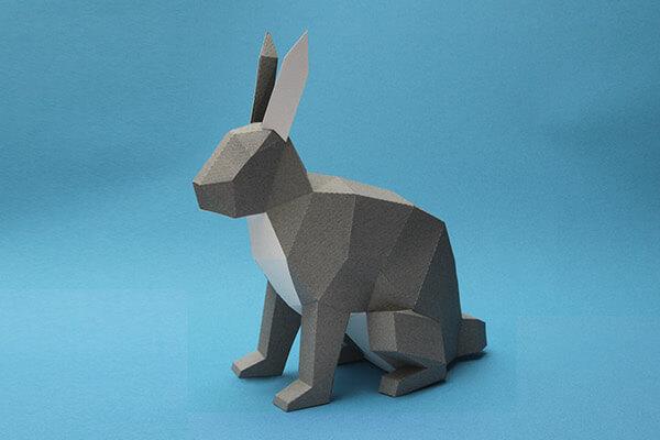 animales hechos con papel conejo